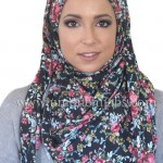 trendy and cut black floral hijab 2017